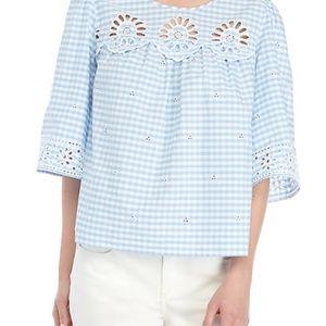 Crown & Ivy Blue Gingham Top With 3/4 Sleeves M